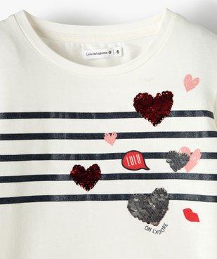 Tee-shirt fille à manches longues avec sequins – Lulu Castagnette vue2 - LULUCASTAGNETTE - GEMO