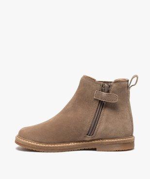 Boots fille zippées dessus cuir retourné style chelsea vue3 - GEMO (ENFANT) - GEMO