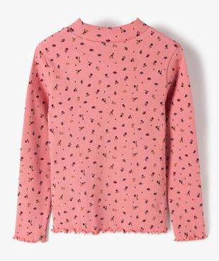 Tee-shirt fille en maille côtelée à motifs fleuris vue3 - GEMO C4G FILLE - GEMO