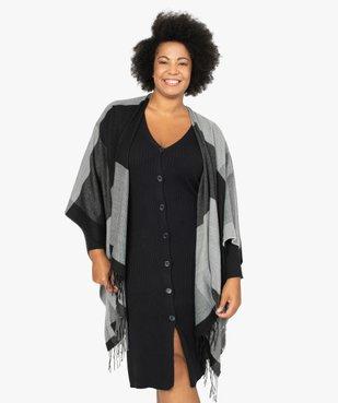 Poncho femme à larges carreaux avec finitions franges. vue2 - GEMO (ACCESS) - GEMO