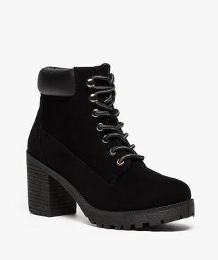 Boots femme à talon et semelle crantée vue2 - GEMO(URBAIN) - GEMO