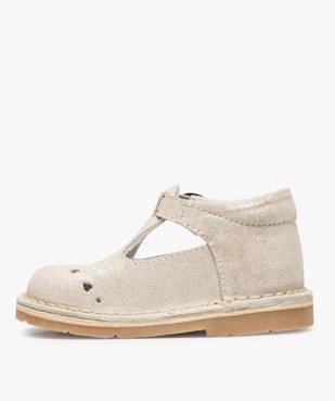 Chaussures de marche bébé fille avec dessus cuir à pailettes vue3 - GEMO(BEBE DEBT) - GEMO