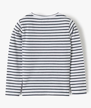 Tee-shirt fille rayé avec motif brodé – Lulu Castagnette vue3 - LULUCASTAGNETTE - GEMO