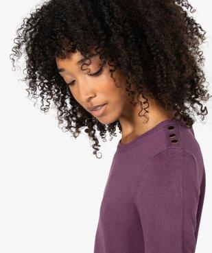 Pull femme en maille fine à col rond et boutons sur les épaules vue2 - GEMO(FEMME PAP) - GEMO