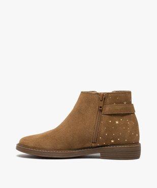 Boots fille style chelsea dessus cuir avec motif étoiles vue3 - GEMO (ENFANT) - GEMO