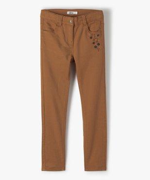 Pantalon fille coupe slim avec fleurs brodées vue1 - Nikesneakers (ENFANT) - Nikesneakers
