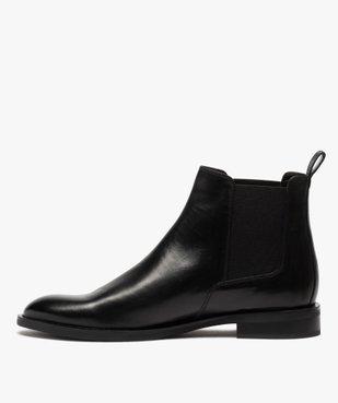 Boots homme style chelsea unis dessus cuir vue3 - GEMO(URBAIN) - GEMO