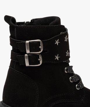 Boots fille zippés en suédine unie avec étoiles métallisées vue6 - GEMO (ENFANT) - GEMO