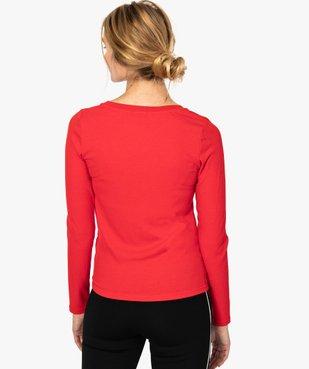 Tee-shirt femme en maille côtelée boutonné sur l'avant vue3 - FOLLOW ME - GEMO