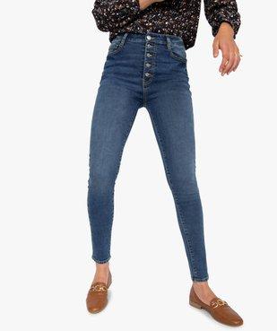 Jean femme skinny délavé taille haute à boutonnière vue1 - GEMO(FEMME PAP) - GEMO