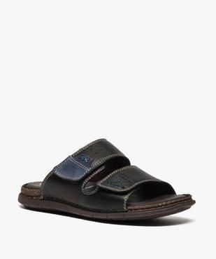 Sandales homme à larges brides dessus et intérieur cuir vue2 - ZEN AIR - GEMO
