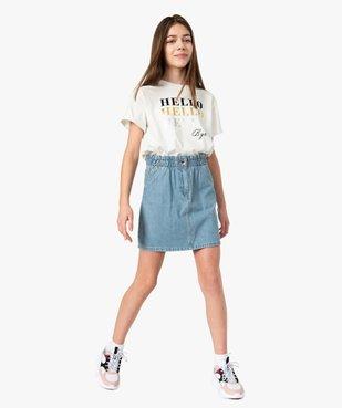 Tee-shirt fille court avec message scintillant vue5 - GEMO (JUNIOR) - GEMO