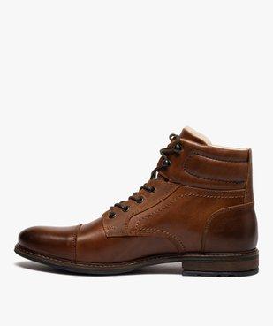 Boots homme à lacets dessus cuir et intérieur polaire vue3 - GEMO (CASUAL) - GEMO