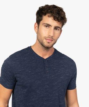 Tee-shirt homme col tunisien 100% coton biologique vue5 - GEMO C4G HOMME - GEMO