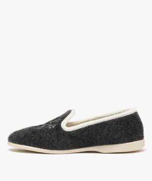 Chaussons femme style slippers en feutrine brodée vue3 - GEMO(HOMWR FEM) - GEMO