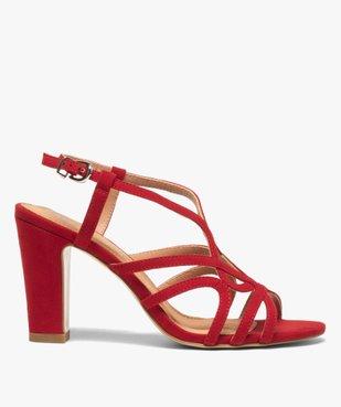 Sandales femme unies à talon et fines brides entrelacées vue1 - GEMO(URBAIN) - GEMO