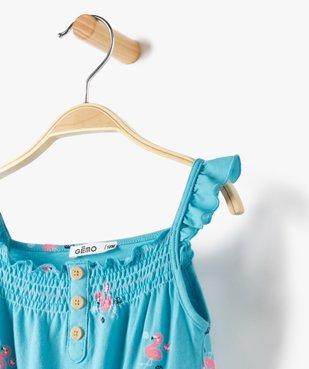 Combishort bébé fille à bretelles volantées vue3 - GEMO(BEBE DEBT) - GEMO
