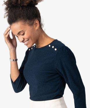 Tee-shirt femme à manches 3/4 en maille gaufrée  vue2 - GEMO(FEMME PAP) - GEMO