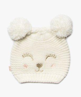 Bonnet bébé fille avec broderie pailletée et oreilles pompons vue1 - GEMO(BEBE DEBT) - GEMO