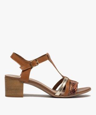 Sandales femme à talon carré et brides en cuir vue1 - GEMO(URBAIN) - GEMO