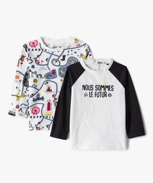 Tee-shirt bébé garçon à manches longues avec motifs (lot de 2) vue1 - GEMO(BEBE DEBT) - GEMO