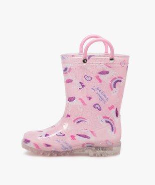 Bottes de pluie fille pailletées motif licorne avec anses vue3 - GEMO (ENFANT) - GEMO