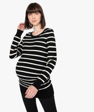Pull de grossesse rayée en maille douce vue1 - GEMO (MATER) - GEMO