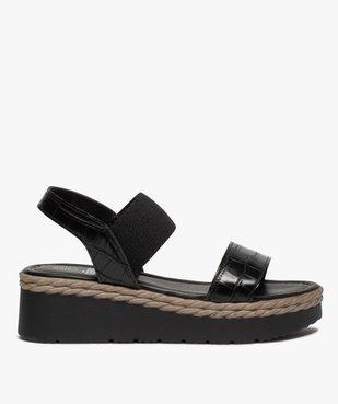 Sandales femme à talon compensé et brides élastiques vue1 - GEMO(URBAIN) - GEMO