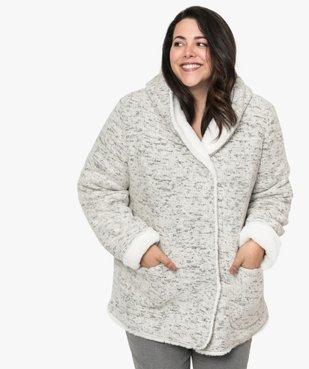 Manteau femme en maille bouclette et détails duveteux vue1 - GEMO (G TAILLE) - GEMO