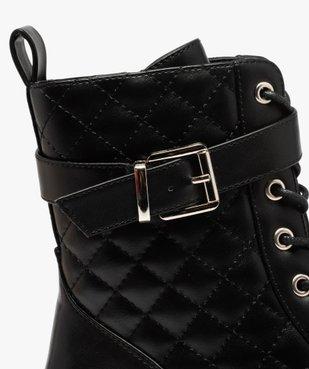 Boots femme unies à semelle crantée et tige matelassée vue6 - GEMO (CASUAL) - GEMO