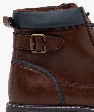 Boots homme à lacets contrastés et col rembourré vue6 - GEMO (CASUAL) - GEMO