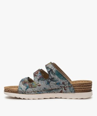 Sandales confort femme mules à talon compensé colorées vue3 - GEMO (CONFORT) - GEMO