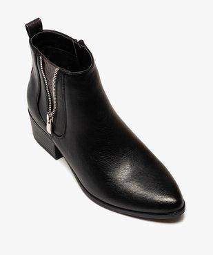 Boots femme à talon large avec zip décoratif vue5 - GEMO (CASUAL) - GEMO