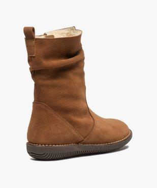 Boots fourrées femme à talon plat dessus cuir retourné uni vue4 - GEMO (CASUAL) - GEMO
