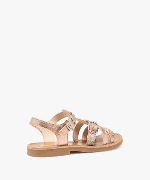 Sandales fille ajustables en cuir métallisé - Bopy vue4 - BOPY - GEMO