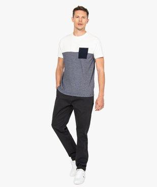 Tee-shirt homme à manches courtes bicolore uni/rayé vue5 - GEMO (HOMME) - GEMO