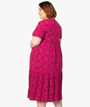 Robe femme longue à col V à motifs fleuris vue3 - GEMO (G TAILLE) - GEMO