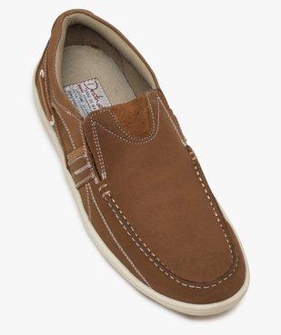 Chaussures bateau homme unies en cuir – Terre de Marins vue5 - TERRE DE MARINS - GEMO