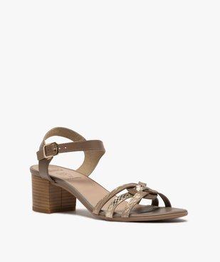 Sandales femme à talon carré et brides métallisées vue2 - GEMO(URBAIN) - GEMO