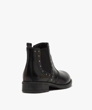 Boots fille en cuir uni style chelsea ornées de clous vue4 - GEMO (ENFANT) - GEMO