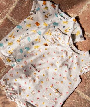 Combishort bébé fille imprimé 100% coton biologique vue6 - GEMO C4G BEBE - GEMO