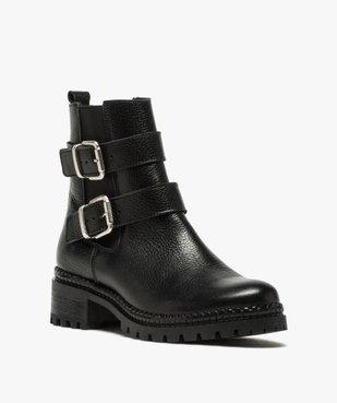 Boots femme à talon large unies en cuir à semelle crantée vue2 - GEMO (CASUAL) - GEMO