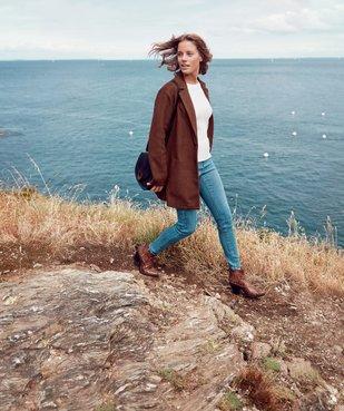 Manteau court femme en matière extensible et grand col vue6 - Nikesneakers(FEMME PAP) - Nikesneakers