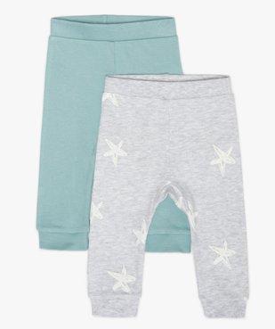 Pantalon bébé en maille avec finitions bord-côte (lot de 2) vue1 - GEMO C4G BEBE - GEMO