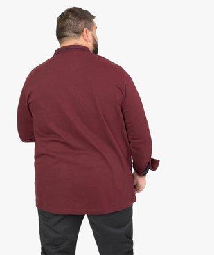 Polo homme à manches longues avec liserés contrastants vue3 - GEMO (G TAILLE) - GEMO