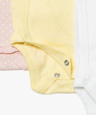 Body bébé fille assortis à manches courtes (lot de 3) vue2 - GEMO C4G BEBE - GEMO