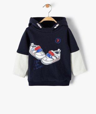 Sweat bébé garçon à capuche effet 2 en 1 – Lulu Castagnette vue1 - LULUCASTAGNETTE - Nikesneakers