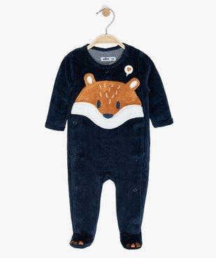 Pyjama bébé en velours avec ouverture devant vue1 - GEMO C4G BEBE - GEMO