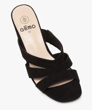 Sandales femme mules à talon en suédine unie vue5 - GEMO(URBAIN) - GEMO