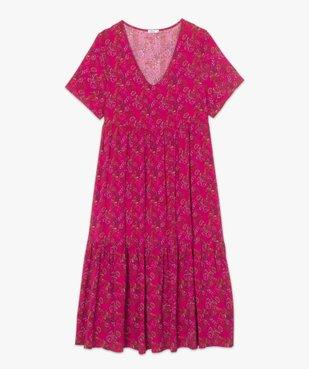 Robe femme longue à col V à motifs fleuris vue4 - GEMO (G TAILLE) - GEMO